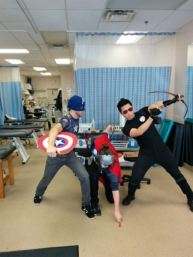 a group doing avengers cosplay